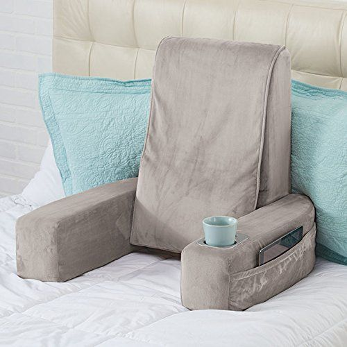 popular plush bedrest reading rest with bed pillow back support arms polyester fabric