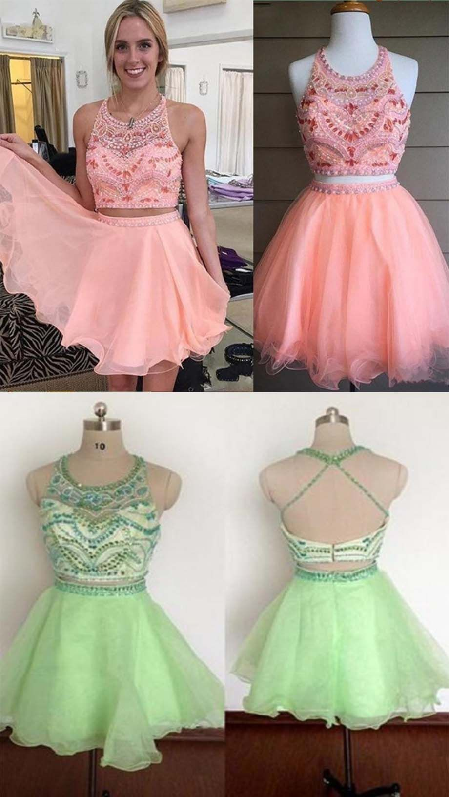 Blush Pink Homecoming Dress,2 Piece Homecoming Dresses,Beading ...