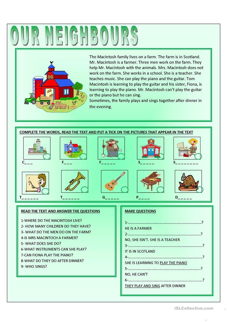 OUR NEIGHBOURS worksheet - Free ESL printable worksheets made by teachers    Teaching music [ 1079 x 763 Pixel ]
