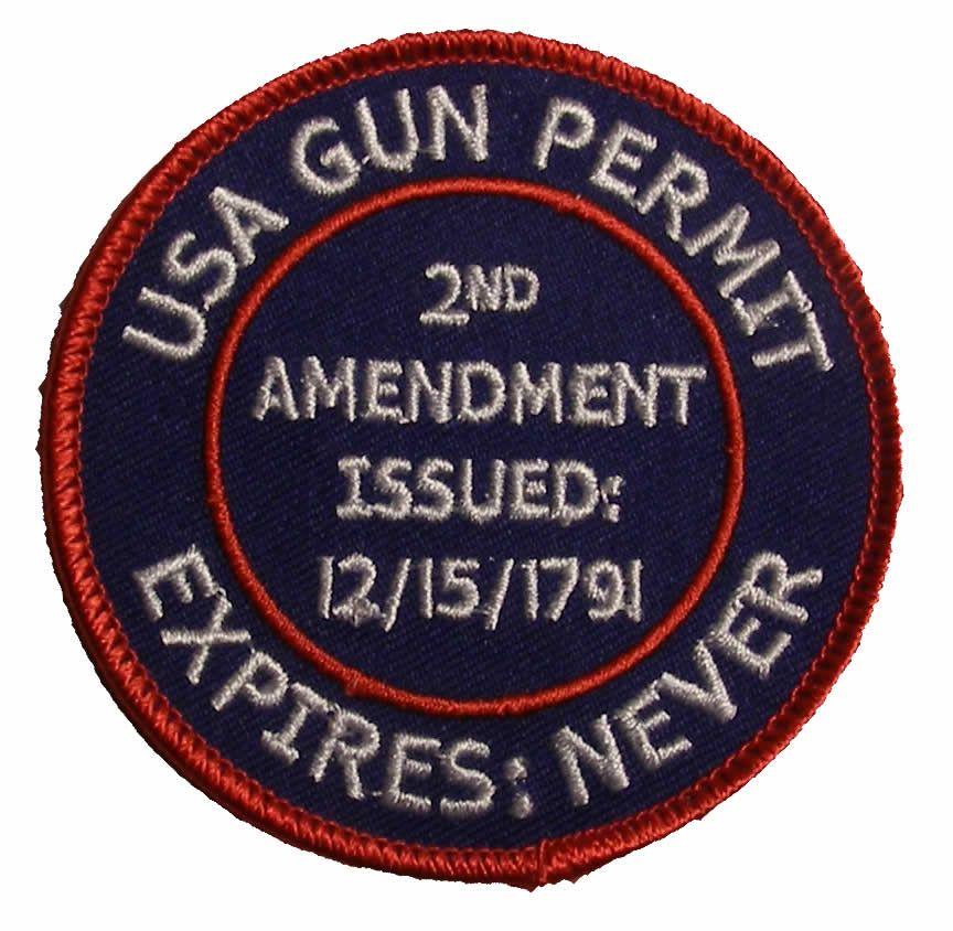 USA GUN PERMIT 2ND AMENDMENT PATCH USA GUN PERMIT 2ND AMENDMENT PATCH   ST-6019  -  6.00   Hat n Patch 174b2cb559b