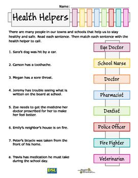 Community Health Helpers Health And Physical Education How To Stay Healthy Health Lessons