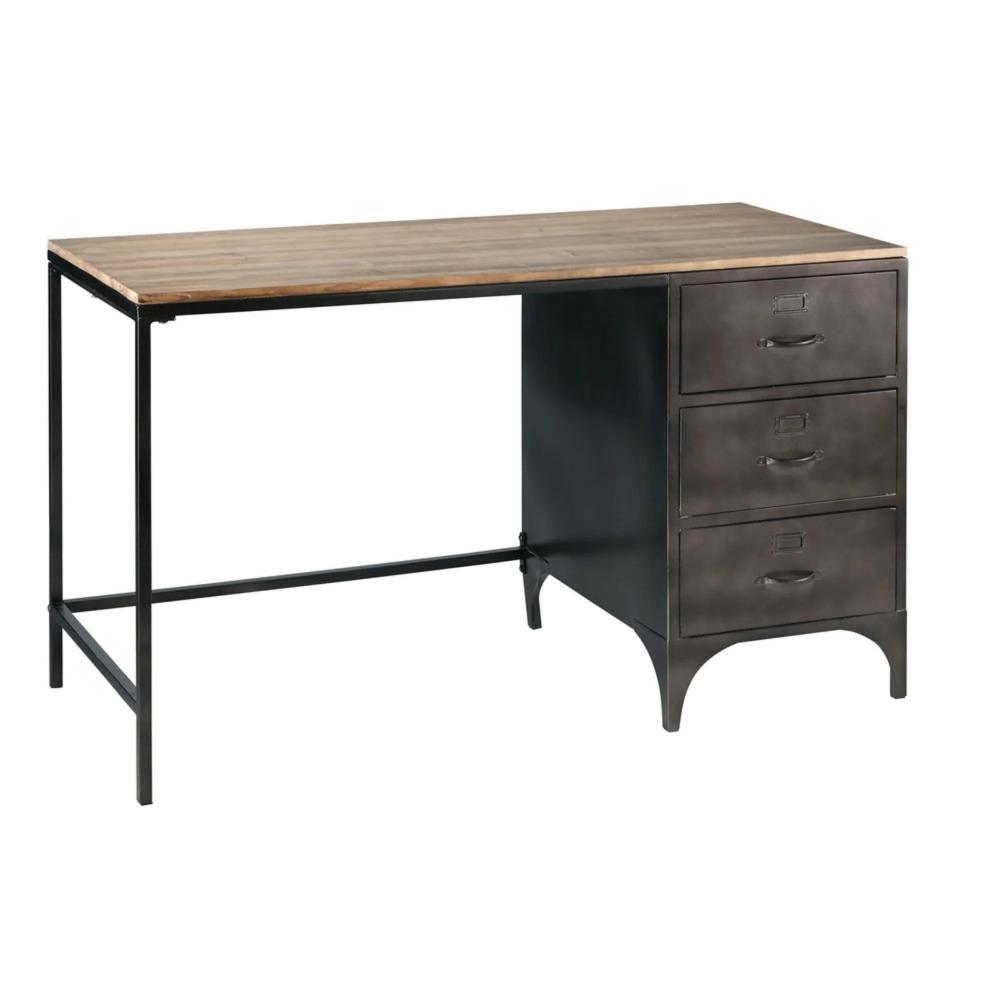 Schreibtisch Im Industrial Stil Mit 3 Schubladen Aus Metall Und Tannenholz Wayne Maisons Du Monde Desk With Drawers Desk Bookshelf Desk