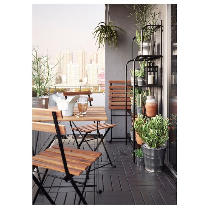 Photo of TÄRNÖ Table, outdoor, black acacia, steel gray-brown stained light brown stained – IKEA