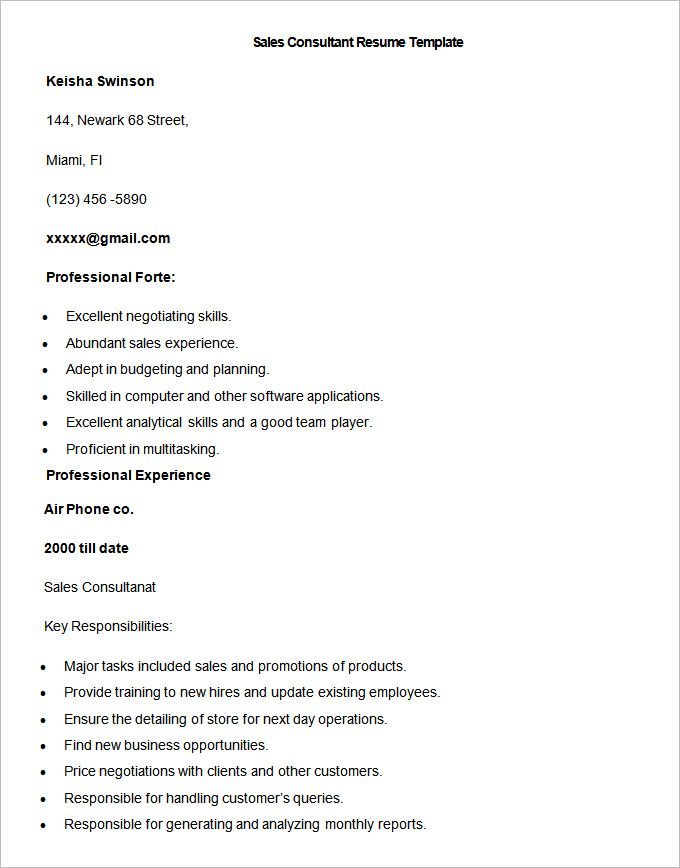 Sample Sales Consultant Resume Template  Write Your Resume Much