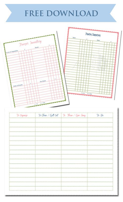 Free Pantry \ Freezer Inventory Printable Download from - inventory sheets printable