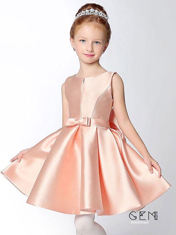 Simple Short Taffeta Pink Flower Girl Dress with Bow Sash ...