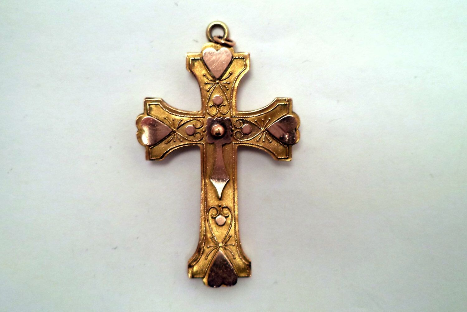 Antique Victorian Yellow and Rose Gold Filled Cross Pendant by SmallTownVintageShop on Etsy https://www.etsy.com/listing/211136708/antique-victorian-yellow-and-rose-gold