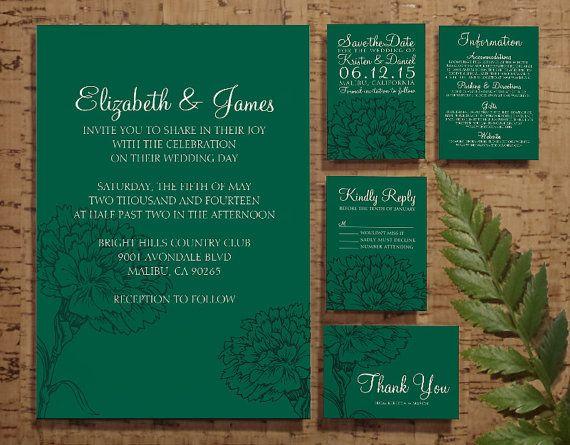 Elegant Emerald Green Wedding Invitation By Invitations On Etsy
