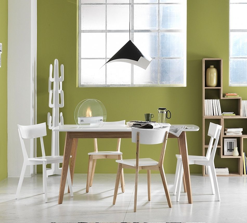 Italian contemporary modern white/oak dining chairs ...