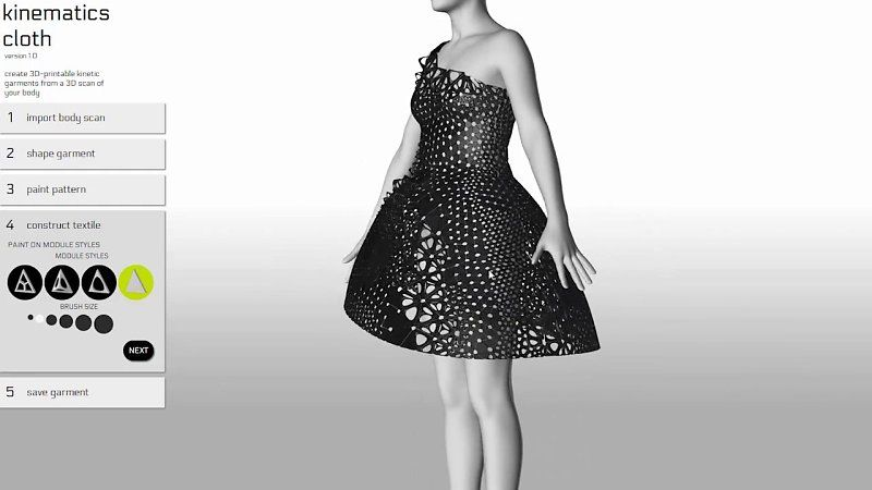 Kinematics Cloth is a web application where people can design custom-fit 3D garments by sketching and sculpting in real time. A variety of clothing items can be created in the app including dresses, skirts and shirts. Users can sculpt the silhouette and hemline of their garment and determine the pattern of the garment's tessellated fabric structure. http://n-e-r-v-o-u-s.com/kinematicsCloth/ music: Snowball by Moby