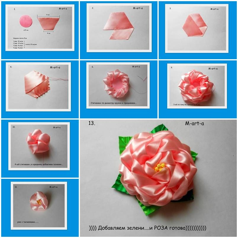 How to make Rose flowers from Voile Ribbon DIY tutorial ...