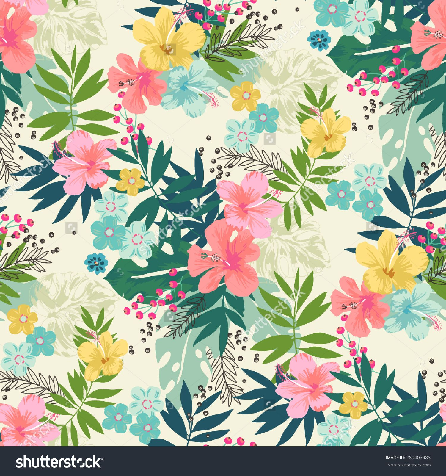 Stock vector hand draw tropical flower blossom cluster seamless stock vector hand draw tropical flower blossom cluster izmirmasajfo Images