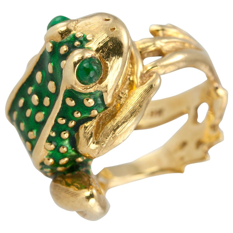 Boris LeBeau Enamel Gold Frog Ring Frogs Fashion ring and Emeralds
