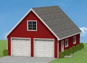 Garage plans 24 39 x 32 39 with loft pl16 home for 24 x 32 pole barn plans