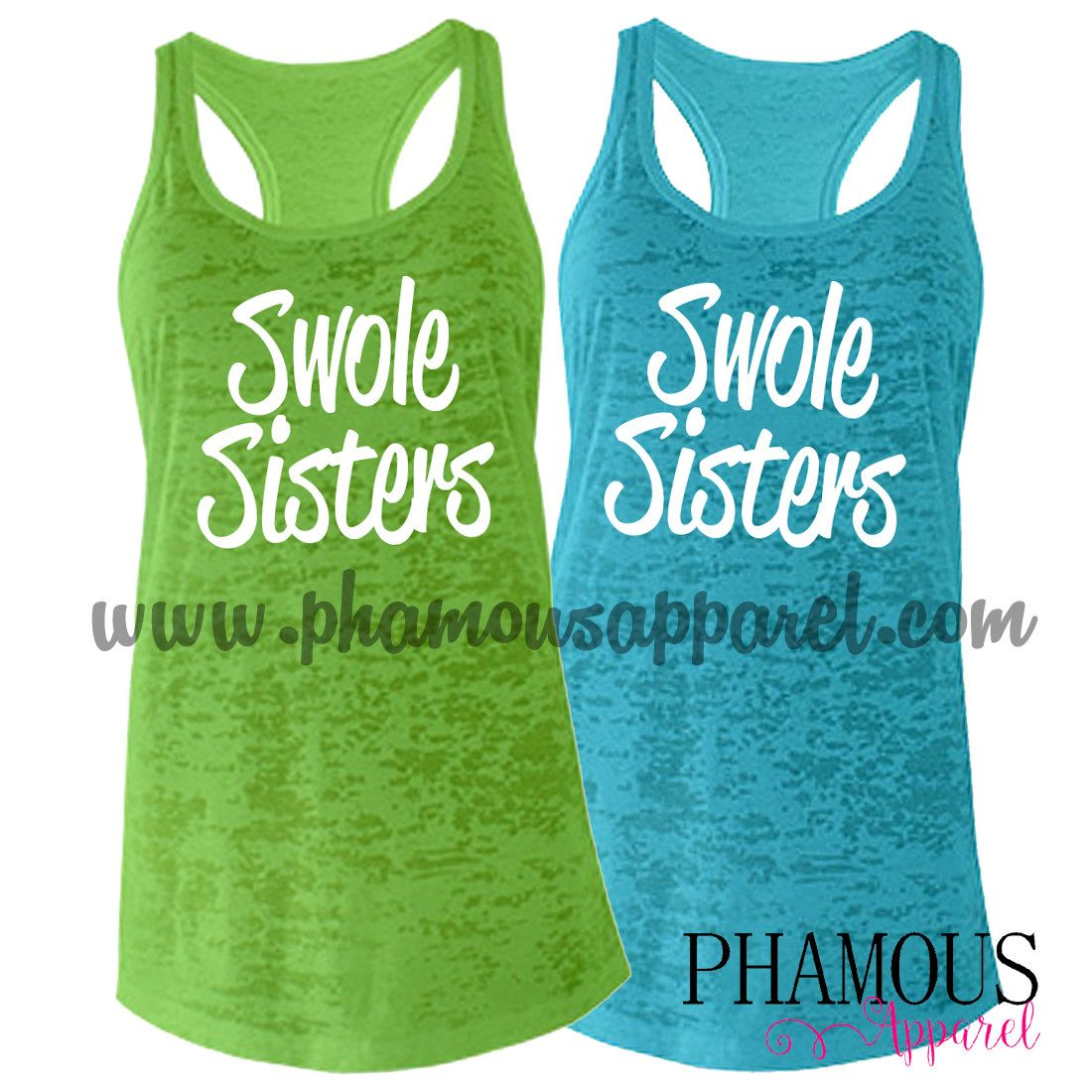 Swole Sisters (1 tank only) Ladies Burnout Racerback Tank Top. Women's Workout Tank Top. Workout Buddy. Swole Mates. Gym Friend. (23.00 USD) by PhamousApparel