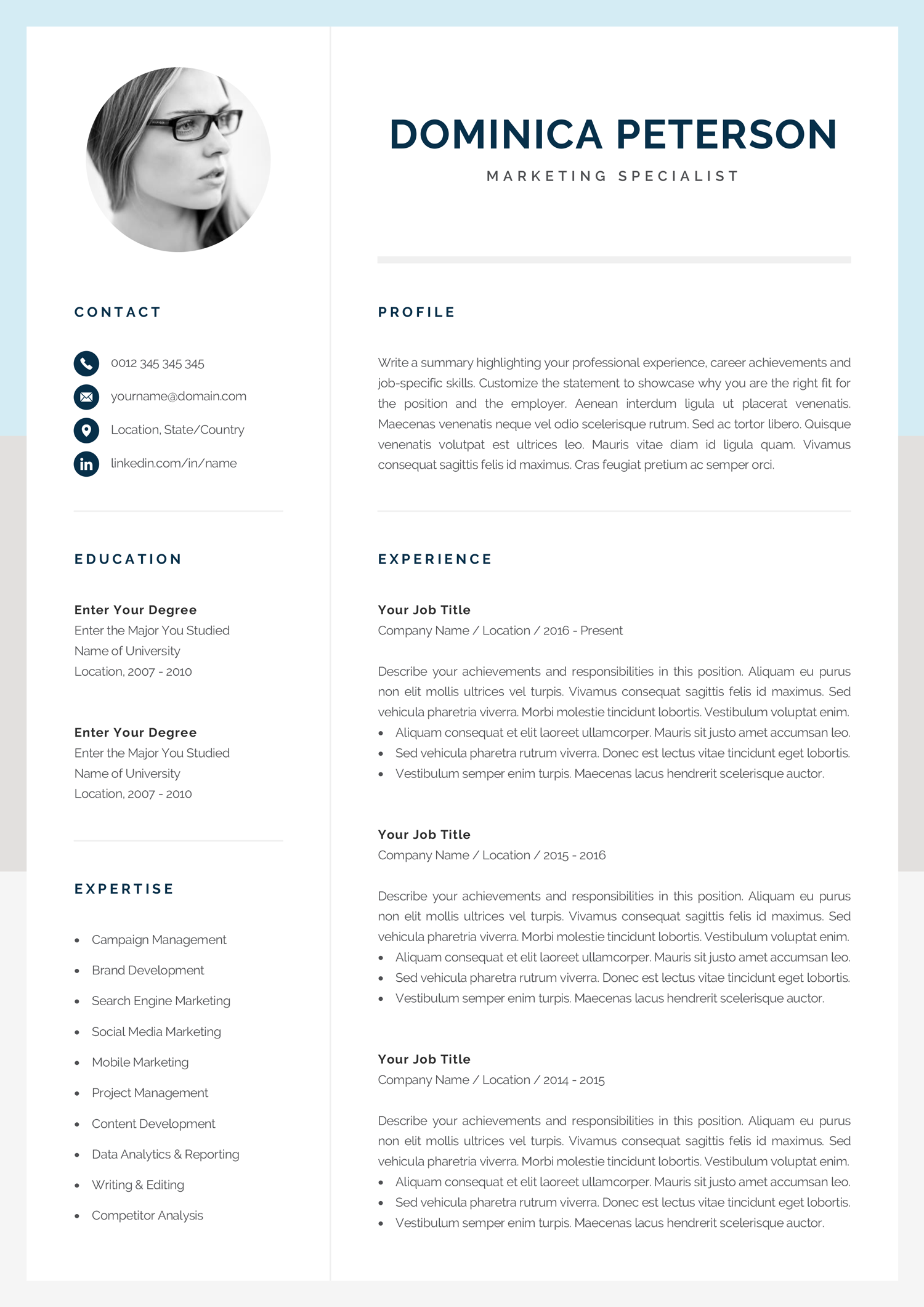 Modern Resume Template Creative Cv With Photo 1 2 Page Etsy Modern Resume Template Resume Template Creative Resume Templates