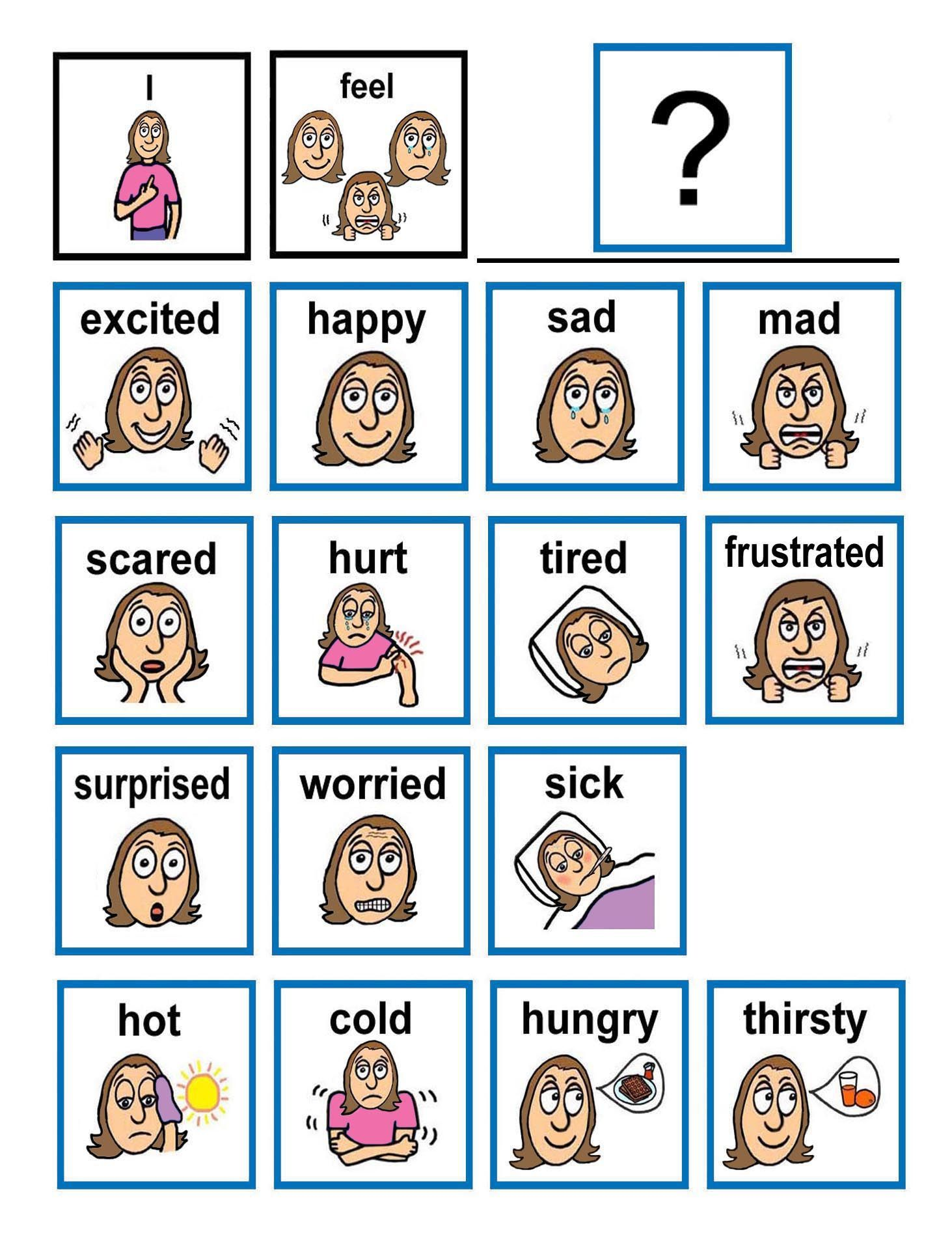 Image Result For Faces Emotions Autism Girls Chart