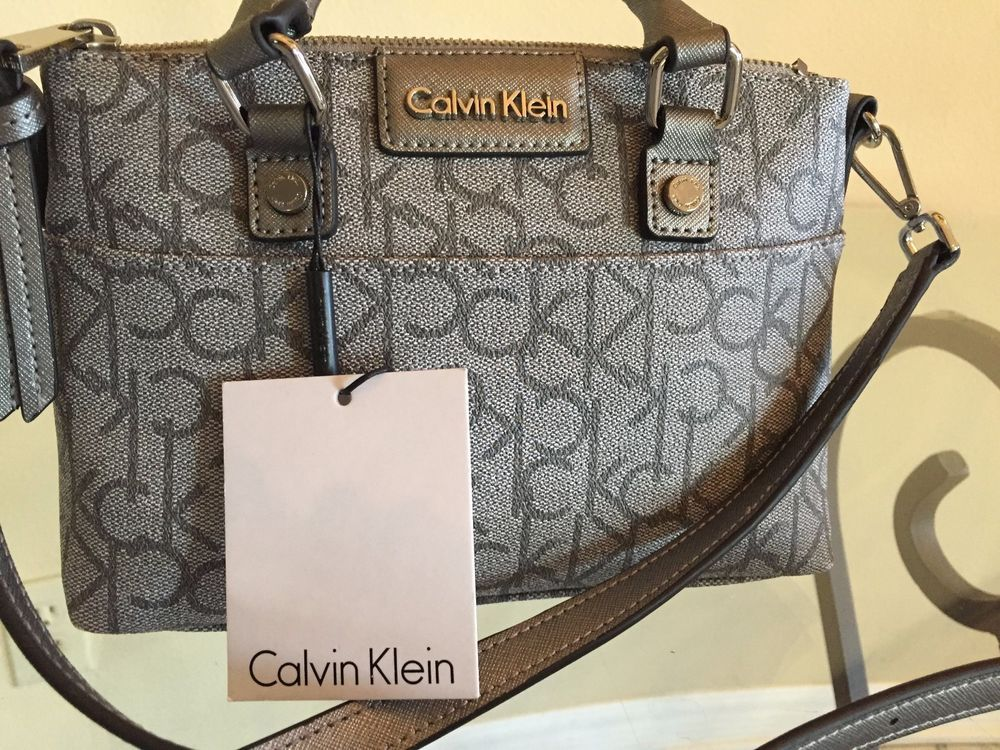 864757cba Calvin Klein Monogram Mini Cross Body Purse Handbag Silver Grey NWT $148 # CalvinKlein #Causal