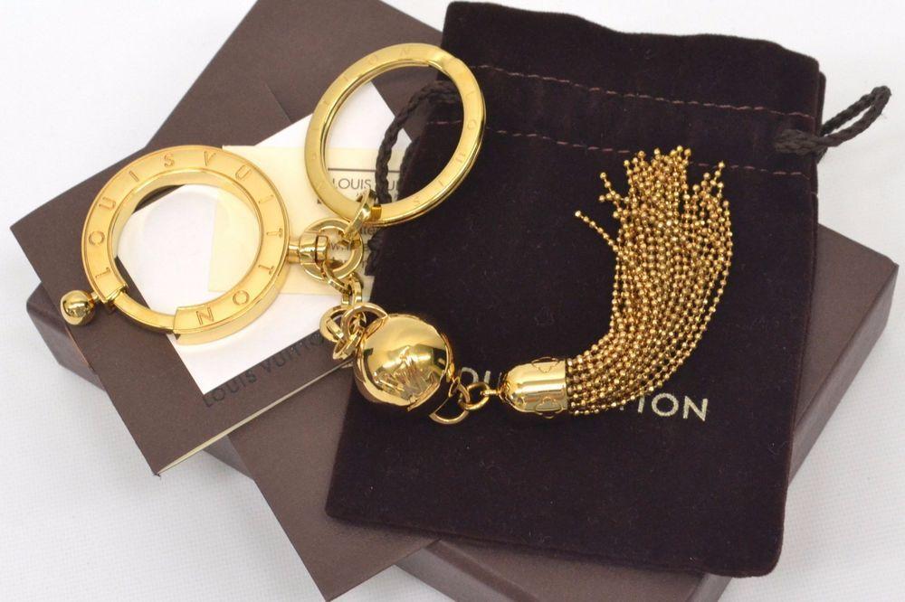 683492ac921 Authentic Louis Vuitton Porte Cles Swing Key Ring Chain Holder Bag Charm LV  Gold  LouisVuitton