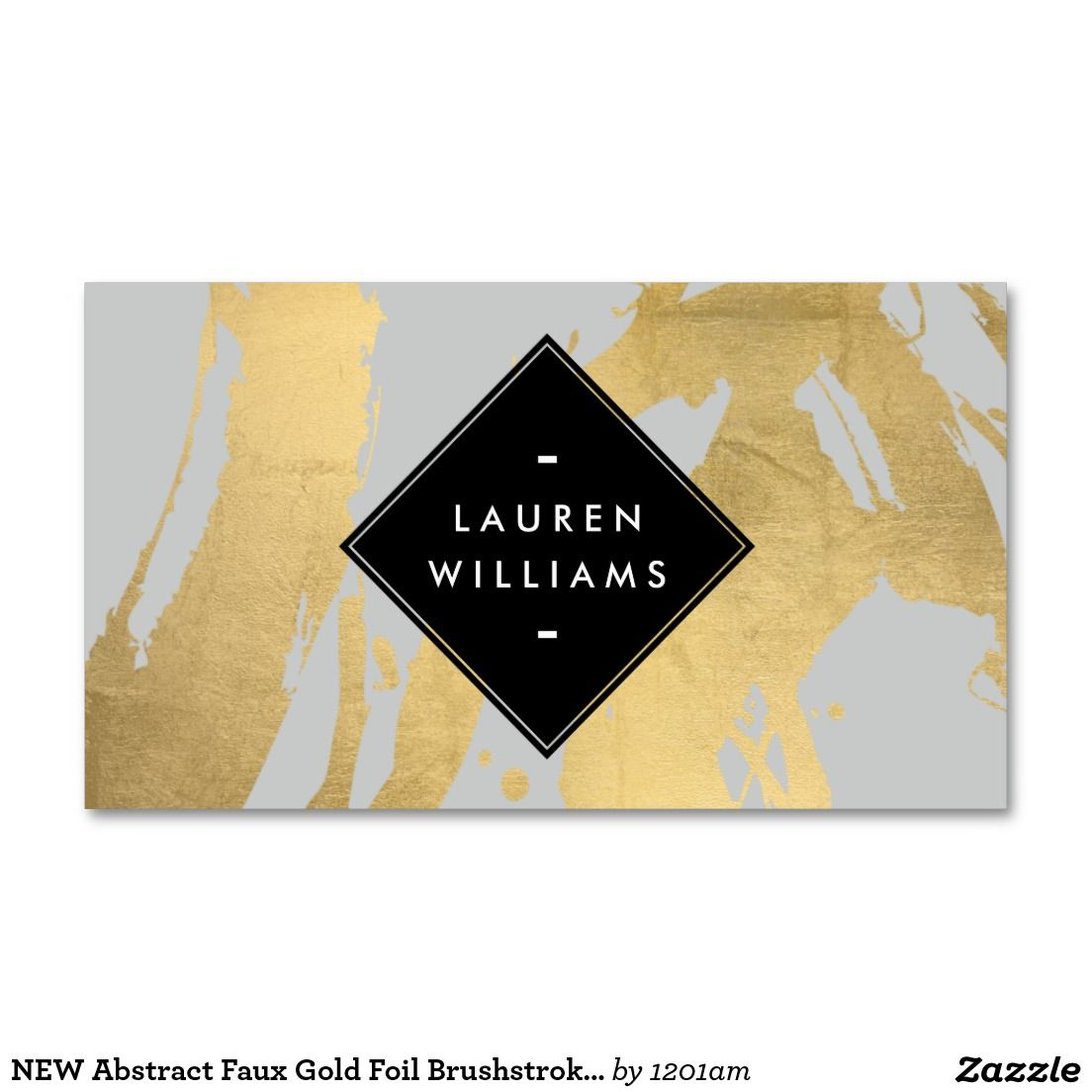 Fully Customizable Gold Brushstrokes Business Card Template for ...