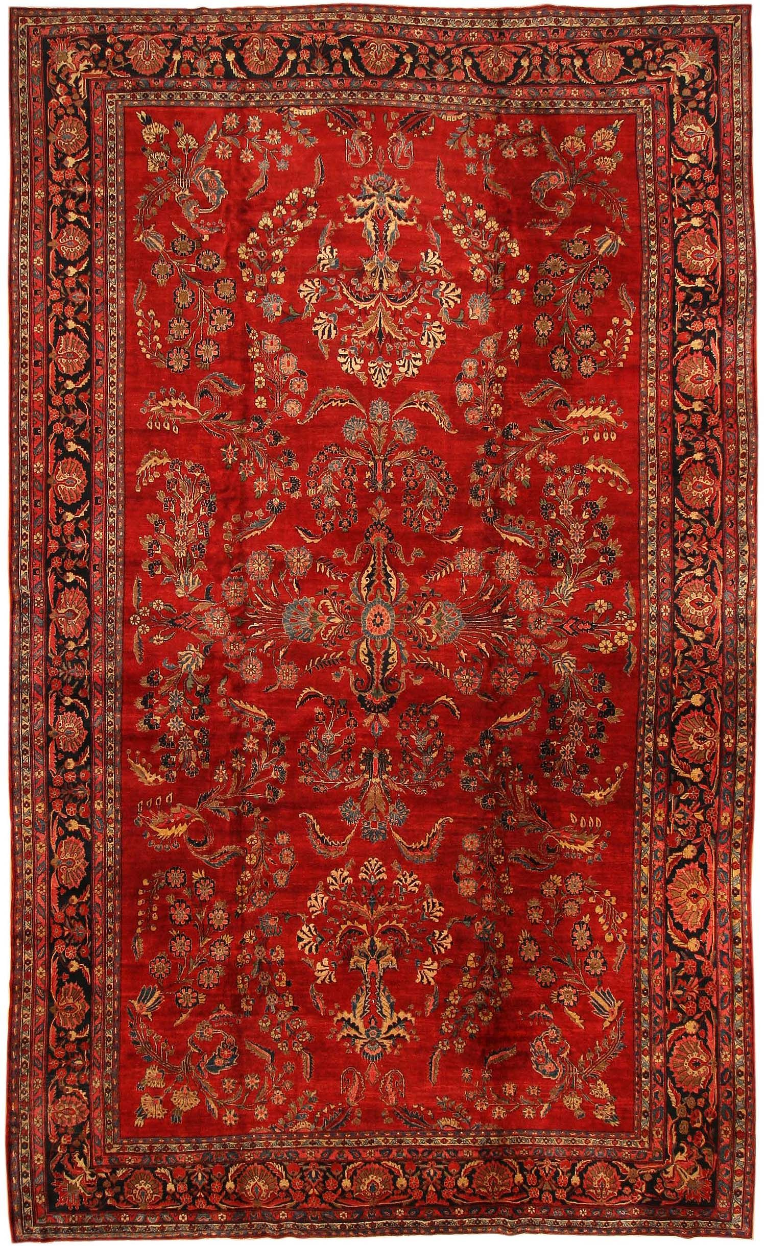 Red Oriental Rug Antique Sarouk Persian Rug 43439 Nazmiyal Collection