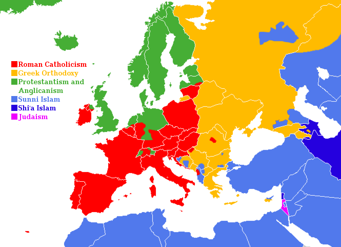 Europe Major Religions History Map Geography History