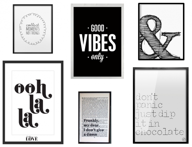 des statement posters en noir et blanc salons walls and gallery wall. Black Bedroom Furniture Sets. Home Design Ideas
