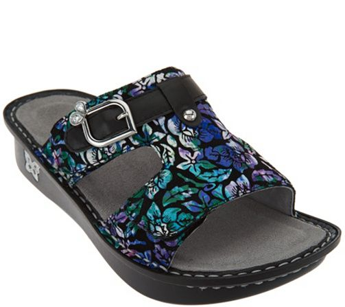 9662fb09fbeb6 Alegria Leather Adjustable Slide Sandals - Peggy - Page 1 — QVC.com