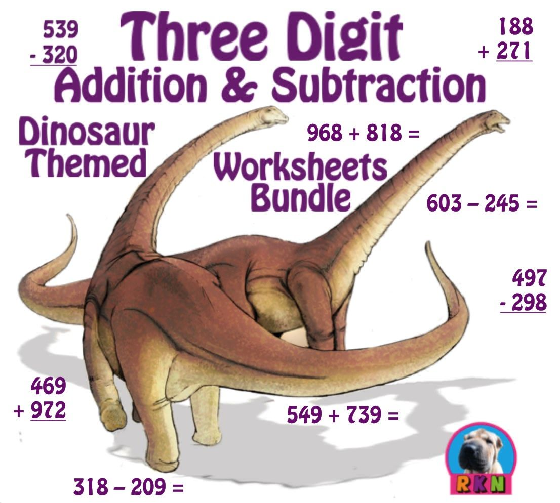 three digit addition and subtraction worksheet bundle dinosaurs 60 pages subtraction. Black Bedroom Furniture Sets. Home Design Ideas