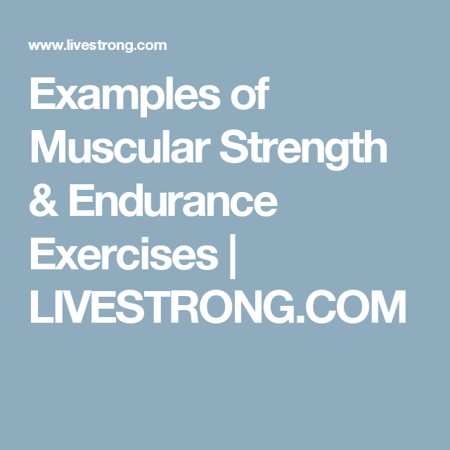 Examples Of Muscular Strength Endurance Exercises Muscular Strength