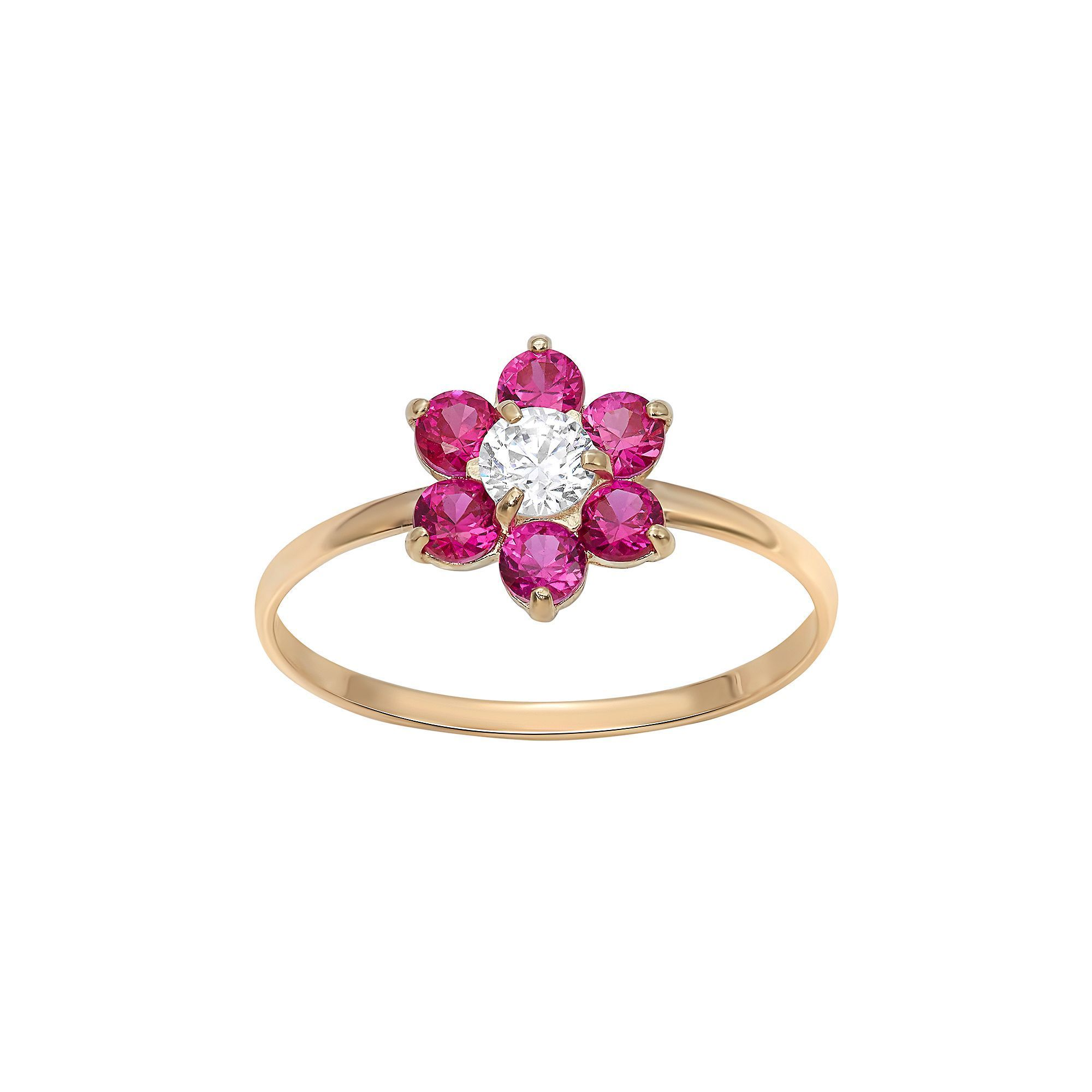Solid 14k Yellow Gold Flower Ring CZ Three Flowers Band Right Hand Fashion Style