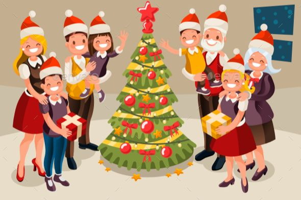 Winter Family Christmas Tree And Child 3d Flat Isometric People Vector Cartoon Characters 100 Vectorial Image 100 R Family Christmas Christmas Snow Snow Night