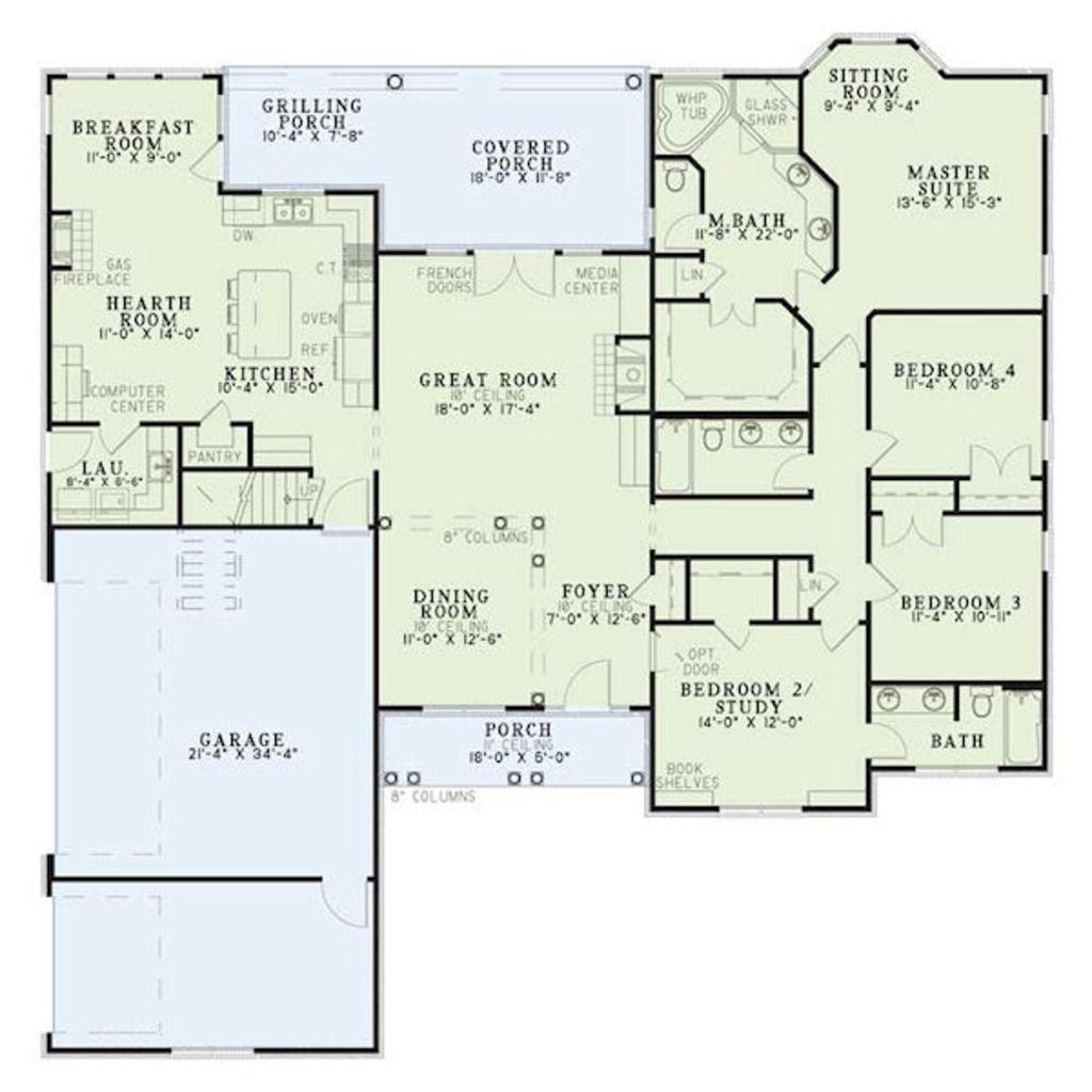 European Style House Plan 4 Beds 3 Baths 2405 Sq Ft Plan 17 2060 House Plans House Plans One Story Floor Plans
