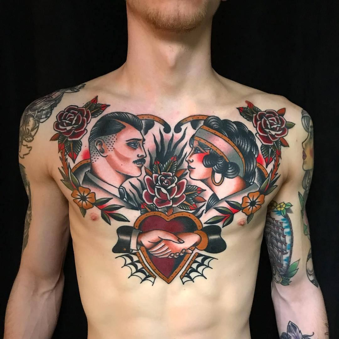 Tom Lortie Traditional tattoo woman, Traditional chest