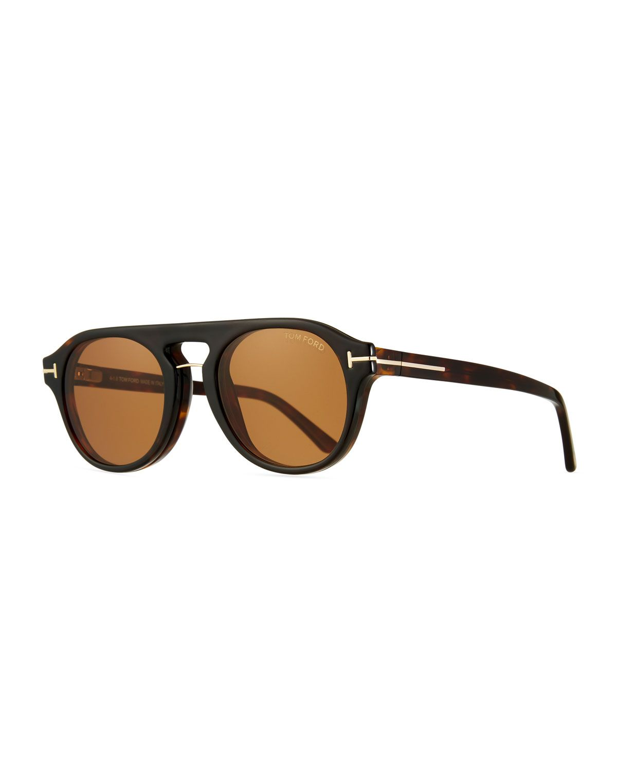a64079b2d086f Tom Ford Men s Round Optical Glasses w  Magnetic Clip On Blue-Block Shade