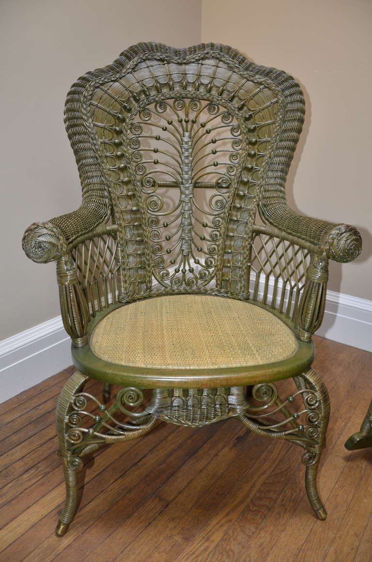 Ornate Victorian Antique Wicker Chair And Rocker