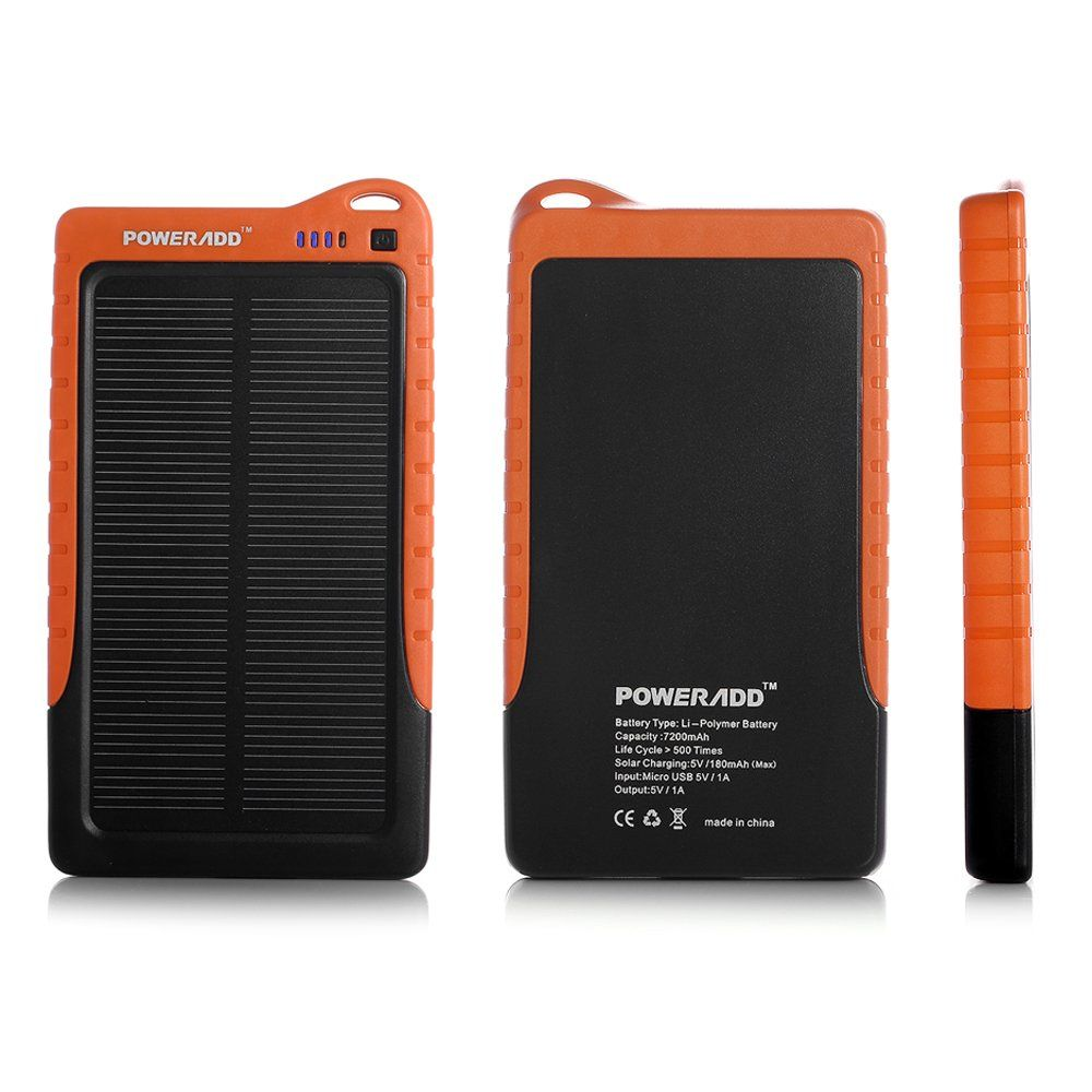 Poweradd Trade Apollo 7200mah Solar Portable Charger Backup Power Bank For Iphone 6 5s 5c 5 4s Ipods Solar Panel Charger Portable Charger Power Bank Charger