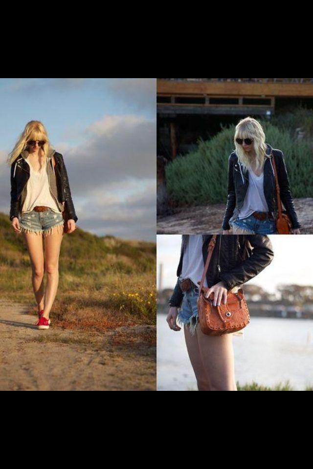 Short jean - veste cuir -vans
