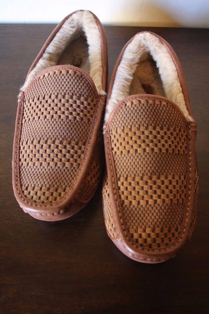 b53eefcdcf8 UGG Australia Men's Ascot Weave Chestnut Suede Slippers Size 10 NEW ...