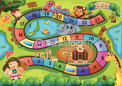 Illustration Of A Board Game With Zoo Background Board Games Board Game Themes Preschool Zoo Theme