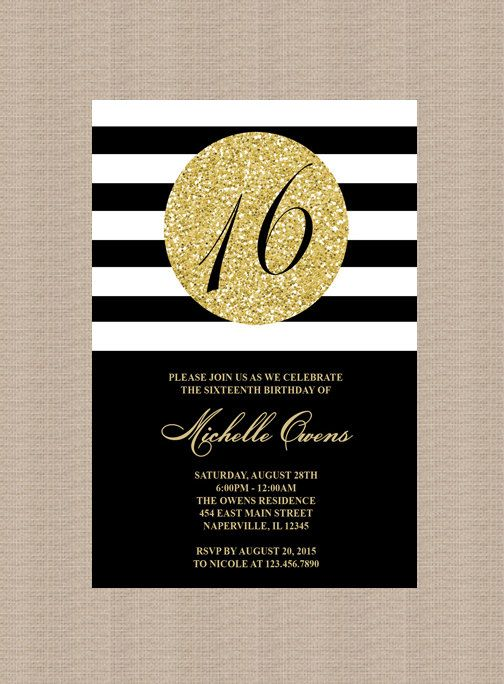 Gold 16th Birthday Party Invitation Black And White Stripes Sweet Sixteen Milestone Printable