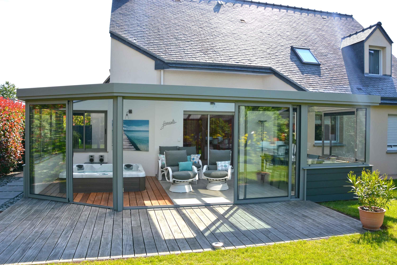 Abri Veranda Pour Spa veranda spa - abris pour un spa en aluminium gris clair avec