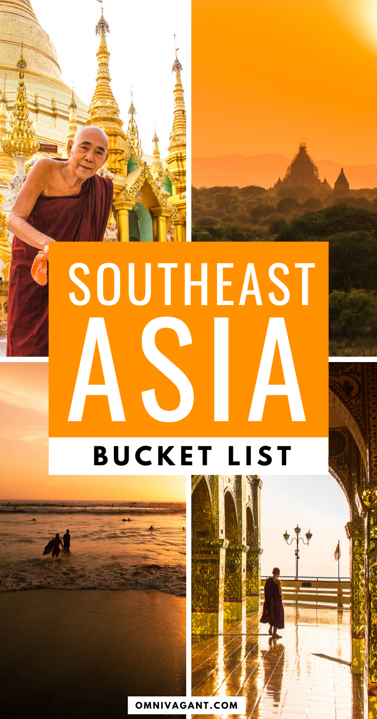 The ultimate Southeast Asia Bucket List! Including 80+ things to do in Southeast Asia, from Myanmar, Thailand, Laos, Cambodia, Vietnam, Malaysia, Singapore all the way to the Philippines. Travel to these bucket list destinations in Asia and discover the most beautiful places in Southeast Asia. This bucket list includes waterfalls, beaches and temples, plenty of travel ideas for your Southeast Asia itinerary! #Asia #SoutheastAsia #Itinerary #Travel