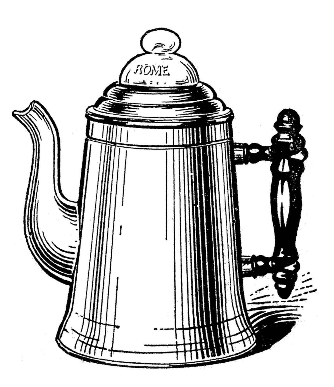 Vintage Kitchen Clip Art - Tea Kettle and Coffee Pots ...