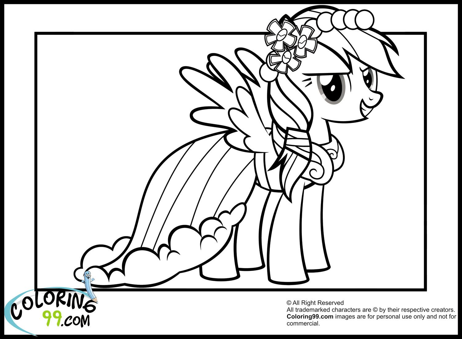 Rainbow Dash in gala dresses | Princess coloring pages ...