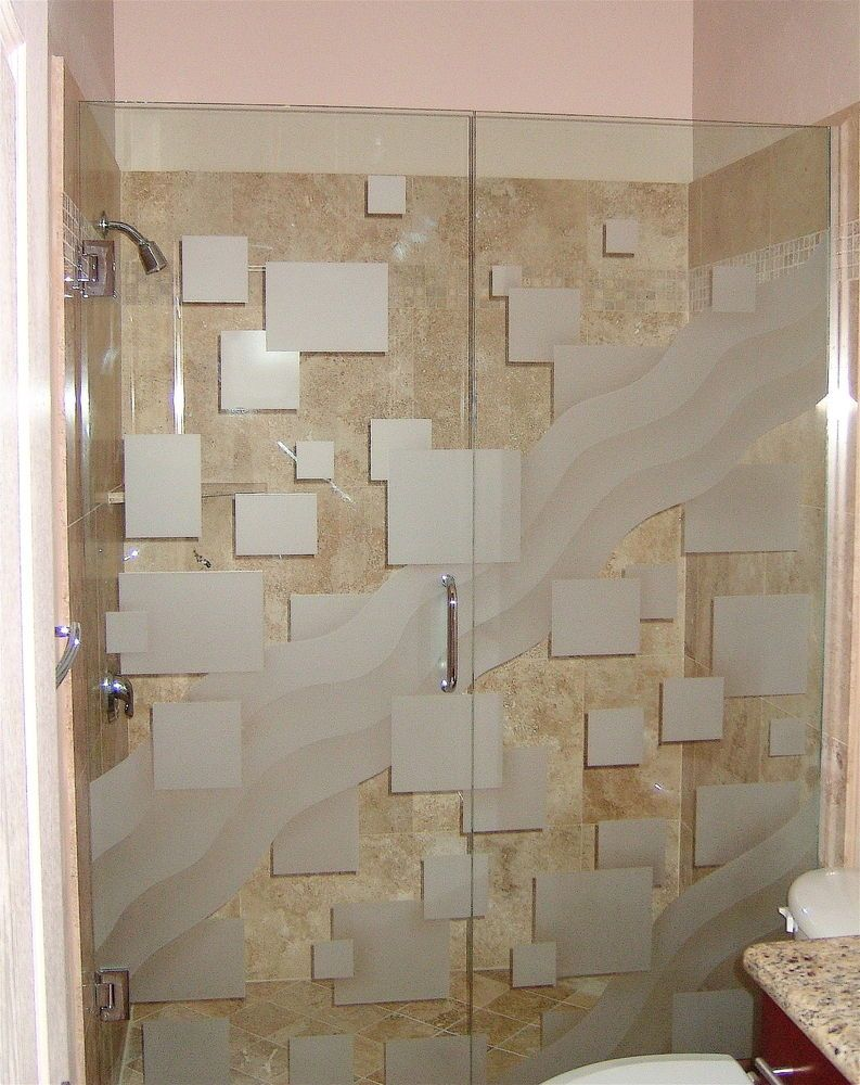 etched glass shower with squares pattern and wave design