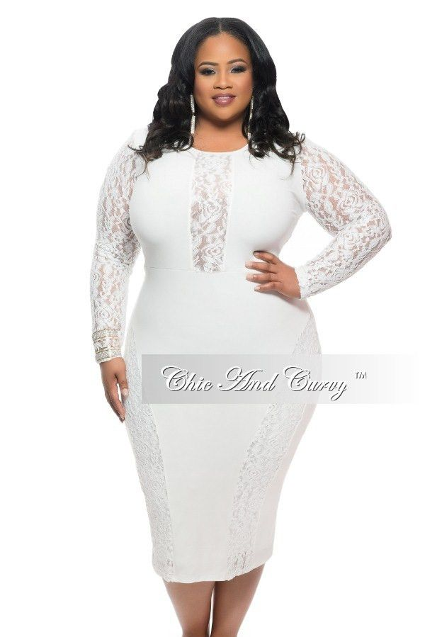 Final Sale Plus Size BodyCon Dress with Lace Panels in Ivory – Chic And Curvy