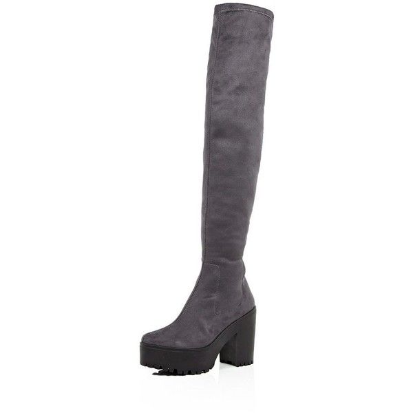 431ef89d219 River Island Dark grey platform over the knee boots ( 140) ❤ liked on  Polyvore featuring shoes