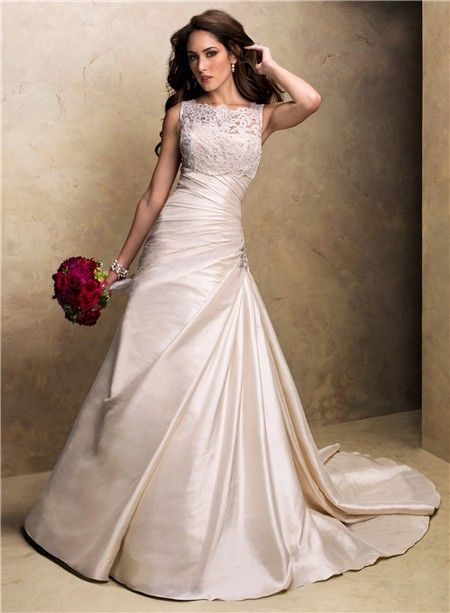 A Line Strapless Champagne Colored Satin Wedding Dress With Lace Jacket