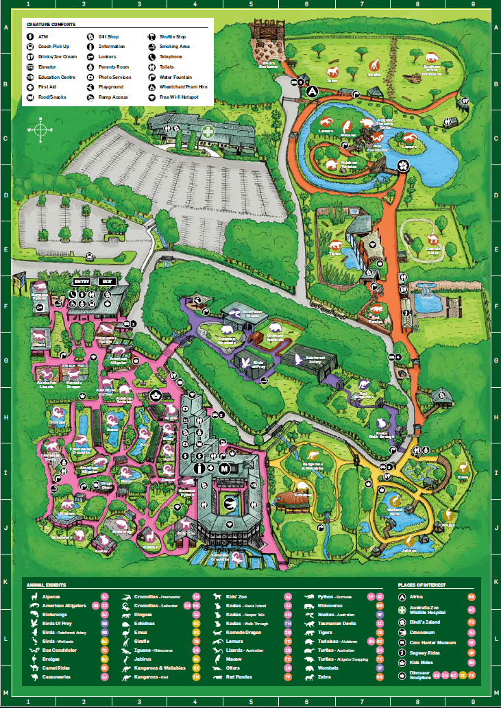 Australia Zoo How to do it all in a day Zoo map, Zoo